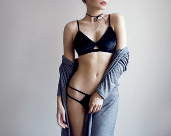 Black Velvet Lingerie Set, strappy cut out bralette and cut out knickers / panties