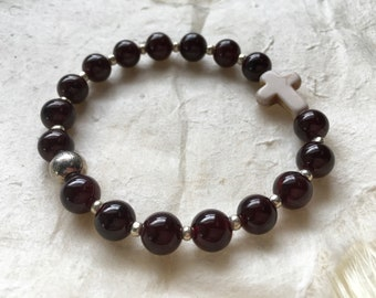 Deep Red Garnet Gemstone Cross Bracelet