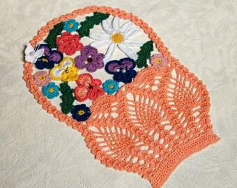Crochet Doily Basket with Flowers Beads Boho Decor Crochet Decor Crochet Stuff Table Topper Table Decoration Home Decor Table Centerpiece
