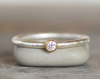 Tiny Diamond Ring - 18k Gold and Silver Stack Ring - Choose 2mm OR 2.5mm - Eco-Friendly Recycled