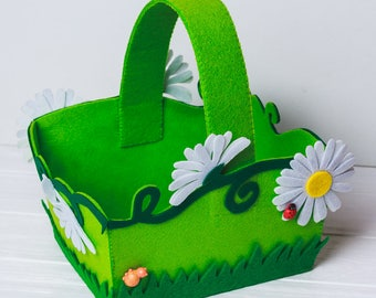 Easter storage baby basket gift for kids Easter egg hunt treat bags Felt Green Spring flowers tote Easter home decor party basket decoration