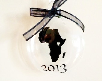 Africa Christmas Ornament with Year, Mission, Travel, Adoption
