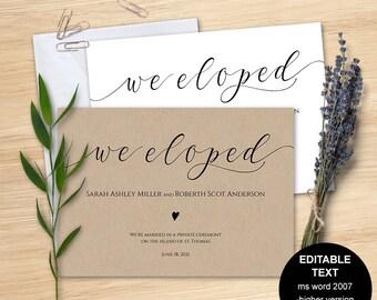 Elopement announcement, we eloped announcement, elopement invites, Printable, Invitation templates, DIY, S22