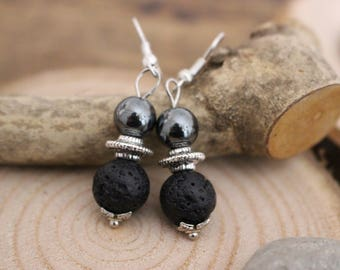 Earrings with pendant - Lava Stone Earrings - Boho style earrings - Elengant earrings - Hematite Earrings - Gift for her