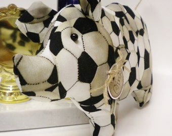 Soccer Pig - Made To Order, Fabric Pigs, Sports Collectibles, Pigs, Soccer Decor, Pig Decor, Soccer Fabric, Handmade Pigs