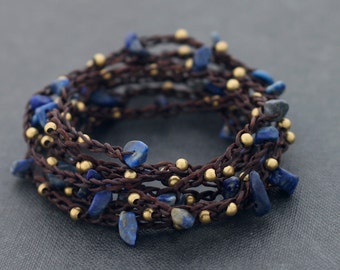 Necklace Lapis Long Wrap Woven