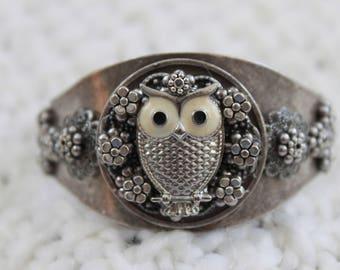 Owl embellished cuff bracelet