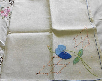 BLUE SWEET PEA Linen Tablecloth or Card Table Topper Appliqued Blue Petals Green Leaves Embr Lattice, 1930 Art Deco Vintage Handmade 31 x 34