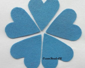 25 Blue Felt Hearts, Embellishments, felt die cut, felt shape, felt crafts