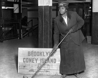 Vintage Photo Black African American Woman - Subway Porter Worker - Civil Rights