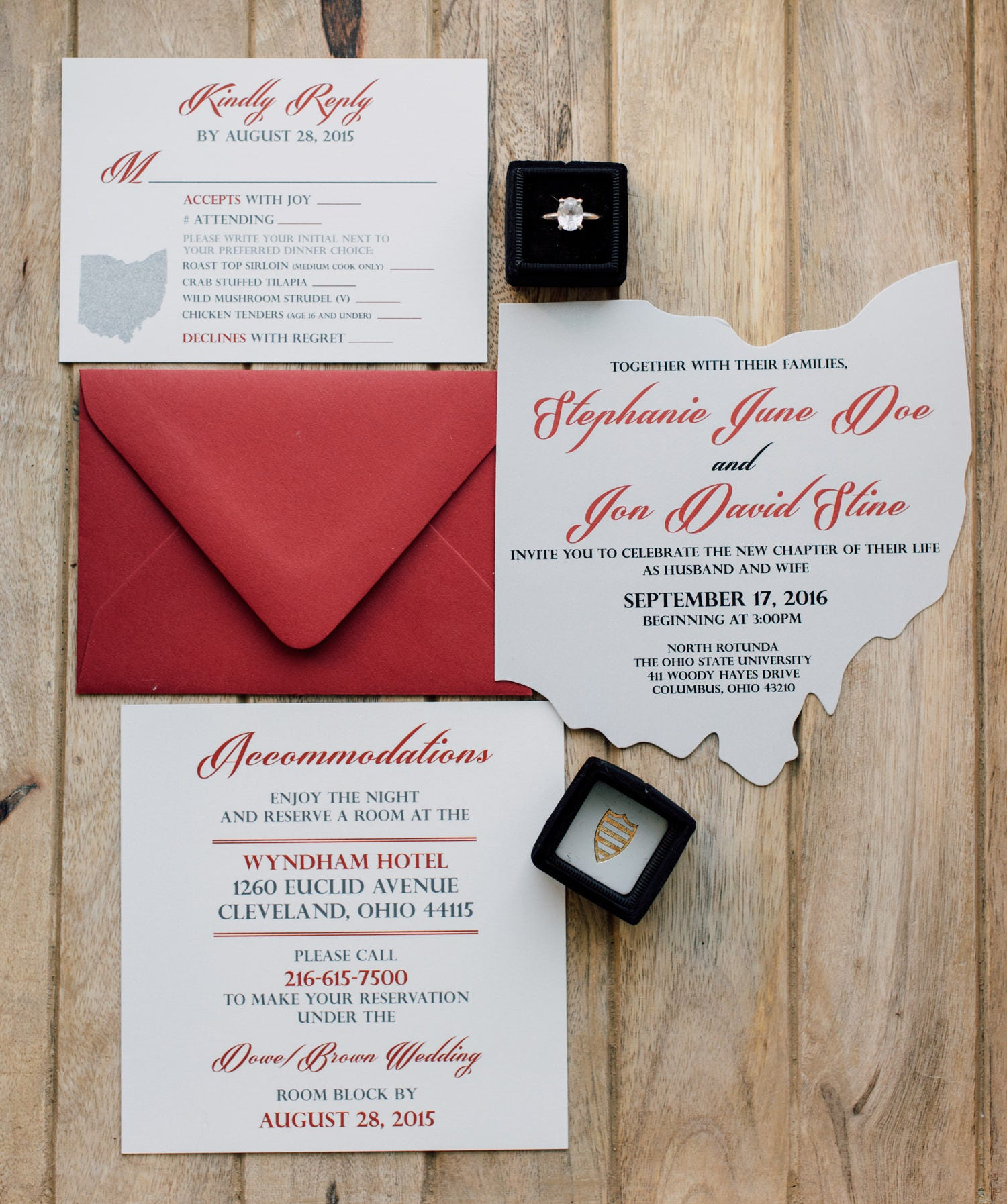 Ohio Cutout Wedding Invitation Scarlet and Grey Wedding
