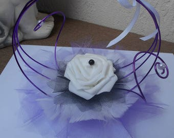 Original ring holder - purple black and white with white rose