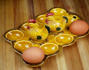 Yellow Egg Plate with Rooster Salt and Pepper Shakers