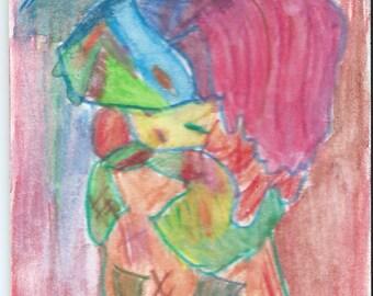 Original ACEO Watercolor Painting - A Poor Girl