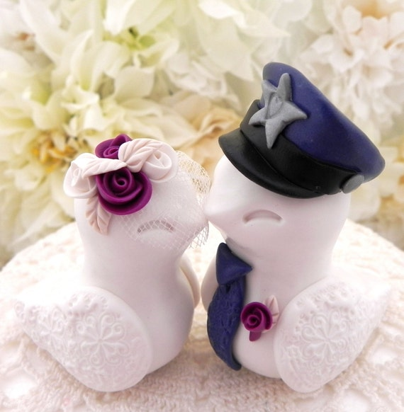 Police Love Birds Wedding Cake Topper, White, Plum Purple and Navy Blue, Bride and Groom Keepsake, Fully Customizable