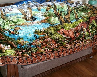 """Vintage Large Tapestry Rug, Illustrated Tapestry Wall Hanging, Fox And Duck Wall Decor, 71"""" X 48"""" Nature Tapestry"""