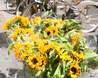 Paris Photography - Sunflower Print - Velib Bicycles in Paris - Bikes and Flowers Photo - Yellow Wall Decor - Travel Art - French