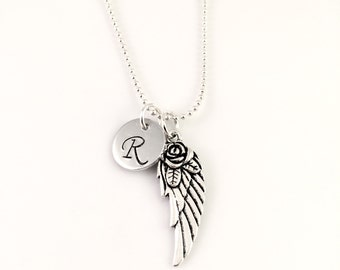 Memorial necklace, Personalized Angel Wing Necklace,  Remembrance jewelry, Guardian Angel necklace, loss of pet, friend, Initial