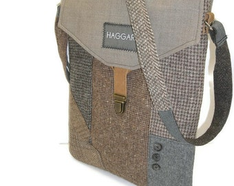 MacBook Sleeve,  With Detachable Strap,Eco Friendly, Recycled Suit Coat