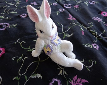 Vintage 1998 Reclining Bunny Rabbit I Pansies on tummy and back - Very good condition  Easter Bunny