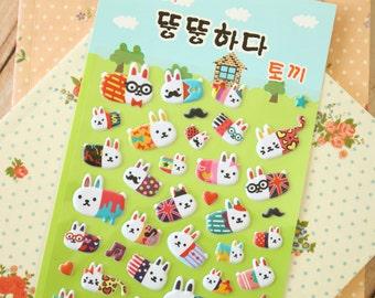 Bubble Rabbit cartoon puffy stickers
