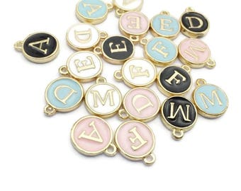 Letter Charms, Alphabet Charms, Initial Charms - Blue Round Letter Charms - Pink Letter Initials - Dainty Pendant- Monogram Charm - DIY