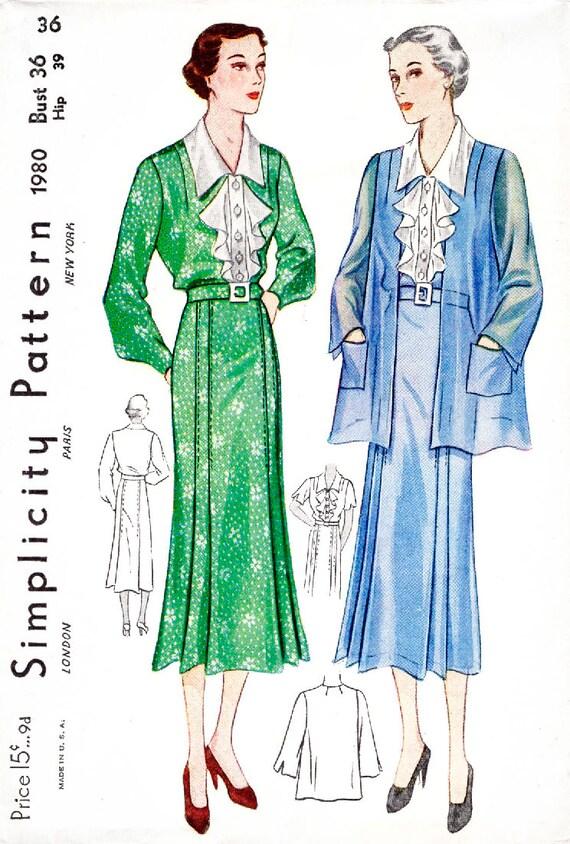 1930er Jahre Kleid Vintage Schnittmuster Reproduktion / /