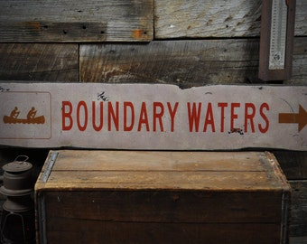 Boundary Waters Sign, BWCA Wood Sign, Boundary Waters Gift, BWCA Decor, Canoe Lake House Sign, Rustic Hand Made Vintage Wooden ENS1000199