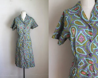 vintage 1960s dress - PAISLEY shirt dress / L