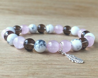 Rose Quartz Bracelet Gift Feather Bracelet Quartz Healing Bracelet Quartz Crystal Gifts Heart Chakra Crystals Jewelry Gifts under 25 Yoga