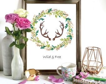Wild & Free Antler Illustration, A4 A5 Print, Wall Art, Watercolour Painting