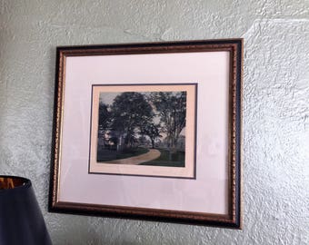 Wallace Nutting original hand-tinted photographic print. The Sweep Under the Elms.