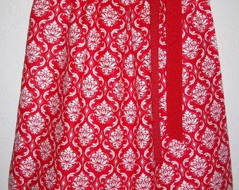 Red Damask Dress Valentines Day Dress Girls Dress Pillowcase Dress baby dress toddler dress Kids Clothes Damask Clothes