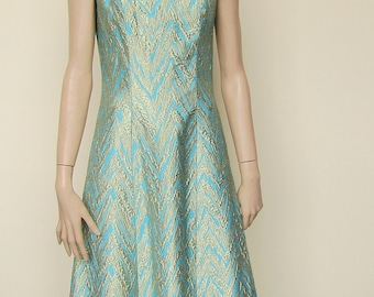 Turquoise and Gold Brocade Maxi Dress - Size 10