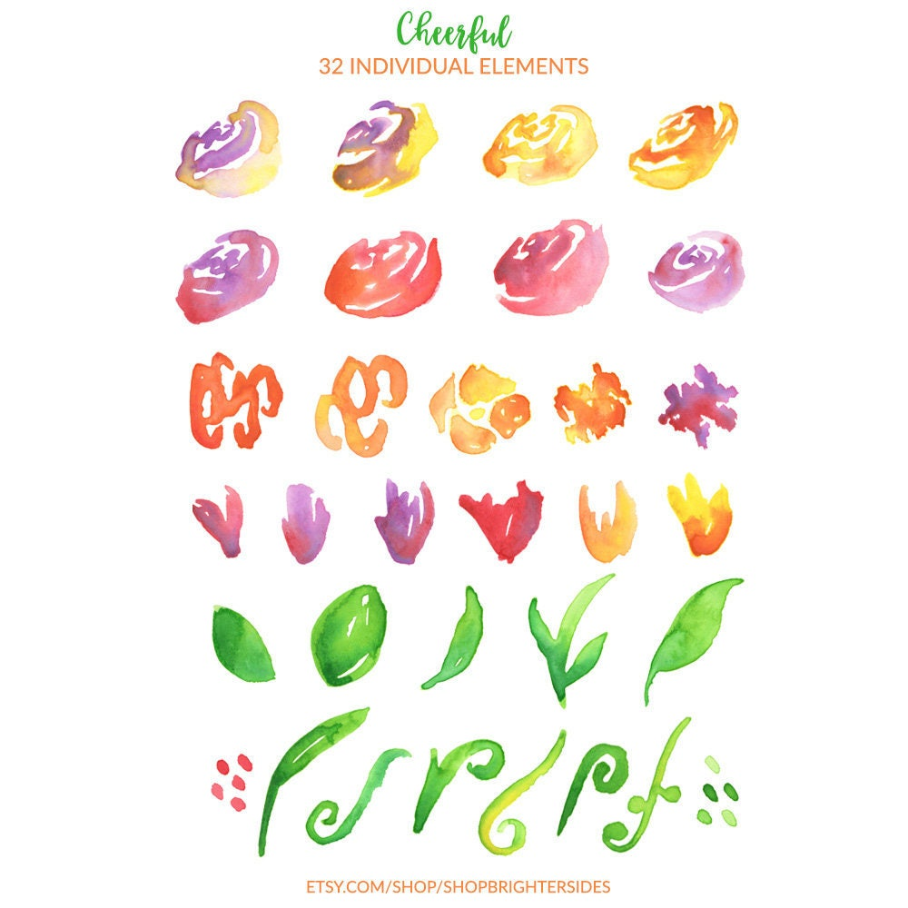 watercolor clipart cheerful wedding flower art floral clipart rh etsystudio com wedding wreath clipart Wedding Bells Clip Art