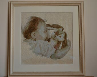 Cross stitch embroidered finished picture with frame-Gift for baby-Gift for newborn-Home decor-Baby with a toy