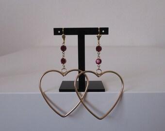 Across my Heart earrings-Gold heart hoop earrings with ruby Swarovski gems
