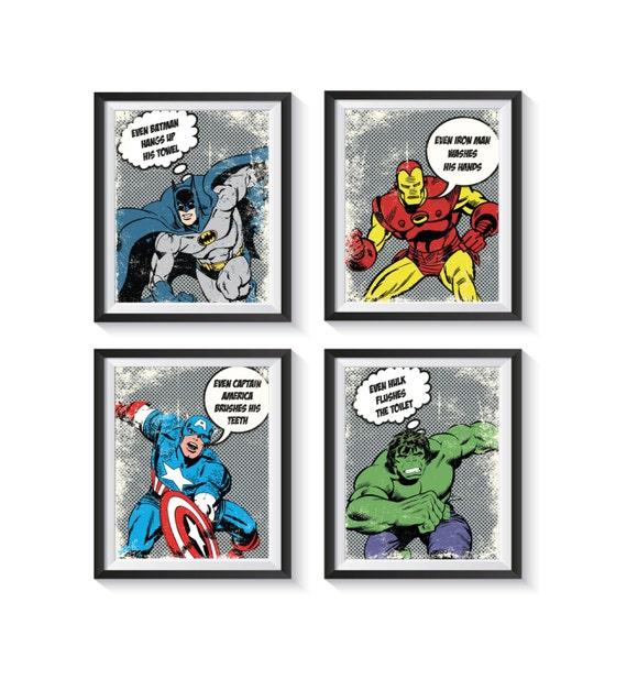 Retro Superhero Art: Retro Superhero Distressed Vintage Bathroom Art Print Set