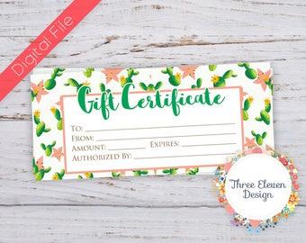 Cactus Printable Gift Certificate - Cacti Printable Business Certificate