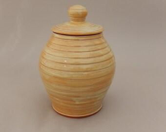 Ceramic Jar - Lidded Honey Colored Pottery Jar