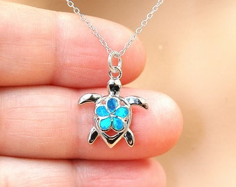 Mermaid Necklace, Plumeria Flower Turtle Necklace, Beach jewelry, October Birthstone, Ocean Jewelry, Blue Opal Necklace, Silver Necklace