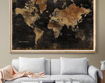 Huge world map etsy huge classic black world map vintage elegant home decor home bedroom gumiabroncs Gallery