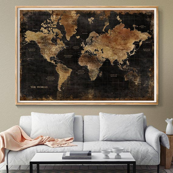 Huge classic black world map vintage elegant home decor gumiabroncs Gallery