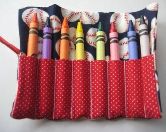Crayon Roll Wallet All American Baseball Includes 8 Crayons