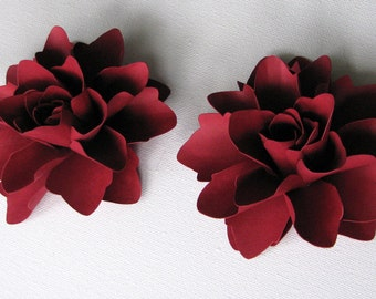 Paper flowers 4 inch for gifts, weddings or scrapbooking set of 6