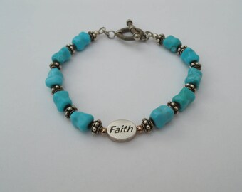 Faith Turquoise and Sterling Silver  Bracelet - 8 Inches Long - Faith Message Bead Bracelet
