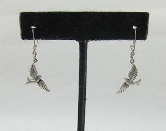 15% OFF Delicate Sterling Silver Flying Birds Dangles