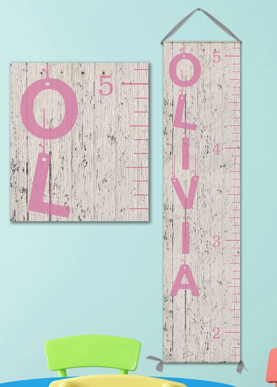 Canvas Growth Chart Ruler - Whitewashed Wood Image, Pink and Grey, Girl Growth Chart - GC0101P