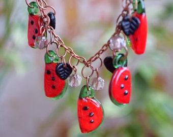 Summer necklace Watermelon lampwork glass necklace Artisan beads Miniature food jewelry garden beaded Fruit jewelry Vegan gift gardener gift