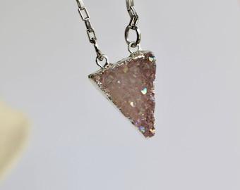 Pink Druzy necklace Triangle drusy quartz geometric modern minimalist boho bohemian rose blush champagne bridesmaid jewelry susie kays